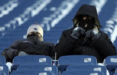 Patriots fans sat bundled against the cold before the game.